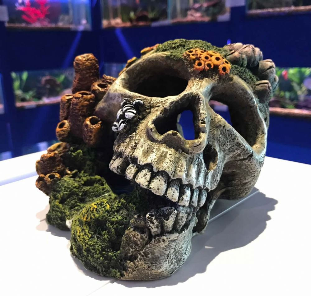 Large Skull & Corals Aquarium Ornament with Connected Air Stone